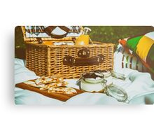 Picnic Basket With Fruits, Orange Juice, Croissants, Quesadilla And No Bake Blueberry And Strawberry Jam Cheesecake Metal Print