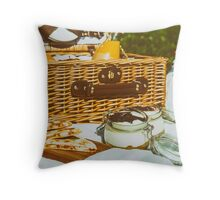 Picnic Basket With Fruits, Orange Juice, Croissants, Quesadilla And No Bake Blueberry And Strawberry Jam Cheesecake Throw Pillow