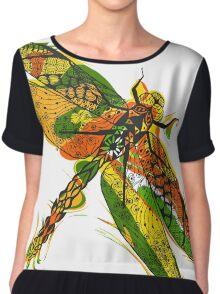 Beautifull hand drawn dragonfly Chiffon Top