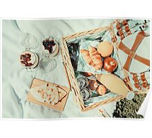 Picnic Basket With Fruits, Orange Juice, Croissants, Quesadilla And No Bake Blueberry And Strawberry Jam Cheesecake Poster