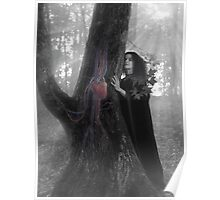 Woman druid listening to heartbeat of the tree Black and white art photo print Poster