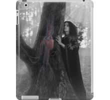 Woman druid listening to heartbeat of the tree Black and white art photo print iPad Case/Skin