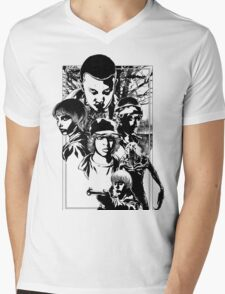 Stand By Will   Black and White Mens V-Neck T-Shirt