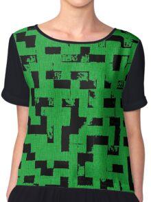 Line Art - The Bricks, tetris style, green and black Chiffon Top