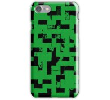 Line Art - The Bricks, tetris style, green and black iPhone Case/Skin