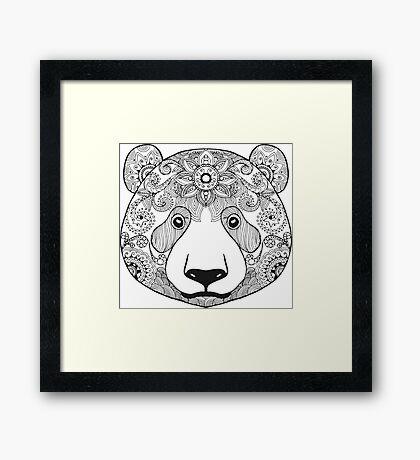 Cute black white panda bear Framed Print