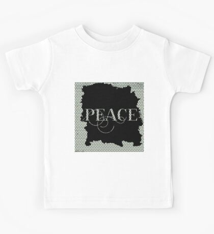 Peace.typography,,cool text,modern,trendy,pattern,design,contemporary art Kids Tee