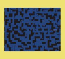 Line Art - The Bricks, tetris style, dark blue and black Kids Tee
