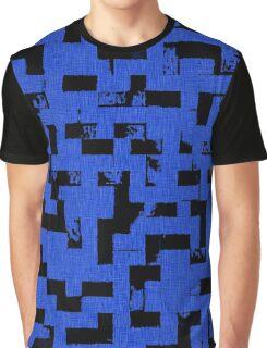Line Art - The Bricks, tetris style, dark blue and black Graphic T-Shirt