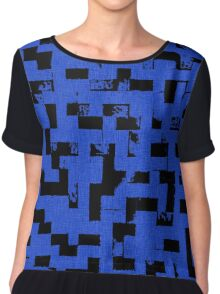 Line Art - The Bricks, tetris style, dark blue and black Chiffon Top