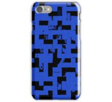 Line Art - The Bricks, tetris style, dark blue and black iPhone Case/Skin