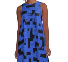 Line Art - The Bricks, tetris style, dark blue and black A-Line Dress