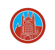 Winchester Cathedral Woodcut Retro by patrimonio