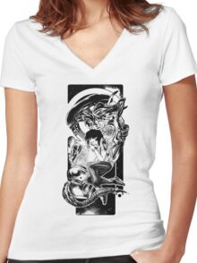 Goodnight Newt | Black and White Women's Fitted V-Neck T-Shirt