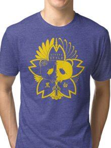 Panda Paw Paw Sakura T-Shirt Design (Yellow) Tri-blend T-Shirt