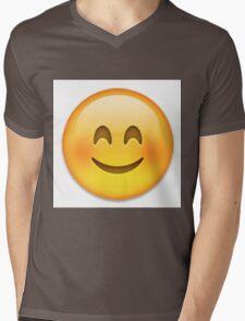 Blushing Emoji Mens V-Neck T-Shirt