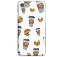 Food Inspired Pattern   coffee and chocolate chip cookies   Watercolor Painted Pattern iPhone Case/Skin
