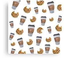 Food Inspired Pattern   coffee and chocolate chip cookies   Watercolor Painted Pattern Canvas Print