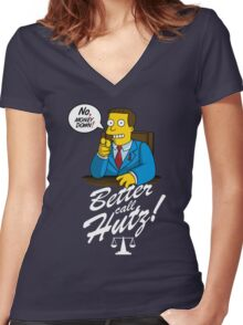 Better Call Hutz Women's Fitted V-Neck T-Shirt