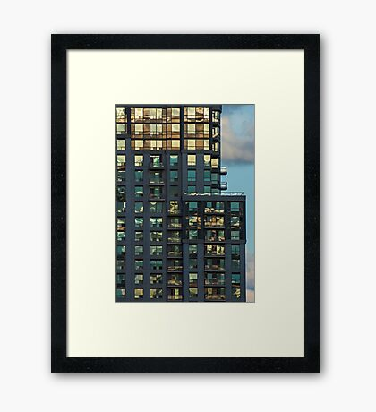 Apartment Tower Sunset Reflections Framed Print
