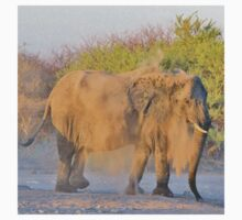 African Elephant - Dust Bath Action One Piece - Short Sleeve