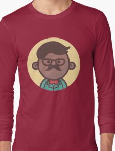 Mini Characters - Black Hipster Man Long Sleeve T-Shirt