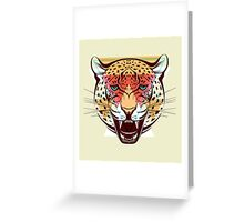 Angry Leopard Fashion Illustration Animals Gift Greeting Card