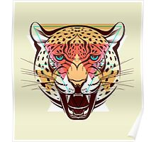 Angry Leopard Fashion Illustration Animals Gift Poster