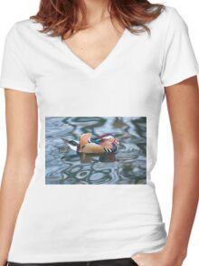 Mandarin Duck Women's Fitted V-Neck T-Shirt
