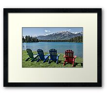 Colourful Chairs at Jasper Park Lodge, Alberta, Canada Framed Print