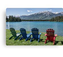 Colourful Chairs at Jasper Park Lodge, Alberta, Canada Canvas Print