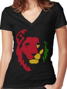 Lion Rasta Reggae Women's Fitted V-Neck T-Shirt