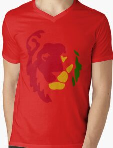 Lion Rasta Reggae Mens V-Neck T-Shirt