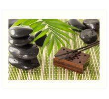 Incense sticks with black basalt stones Art Print