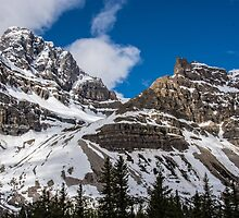 June Sun on the Snow-Capped Canadian Rockies by Gerda Grice