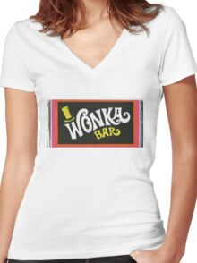 Willy Wonka Chocolate Bar t-shirt Women's Fitted V-Neck T-Shirt