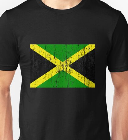 Jamaican Flag (distressed, any background) Unisex T-Shirt