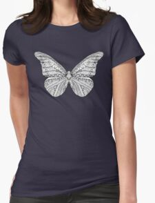 Beautiful black white butterfly Womens Fitted T-Shirt