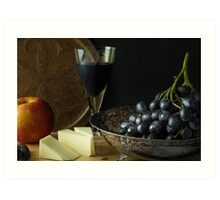 Antique fruit bowl with grapes and a glass of red wine. Art Print