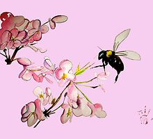 Cherry Blossom & Bee Duvet by theblackdavinci