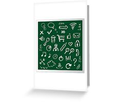 Web icons painted on a green background Greeting Card
