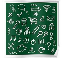 Web icons painted on a green background Poster