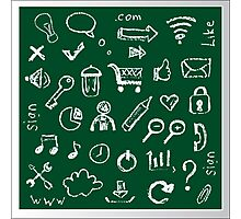 Web icons painted on a green background Photographic Print