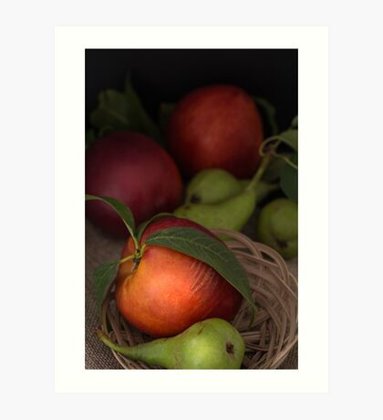 Organic pears and peaches Art Print