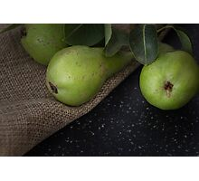 Green organic pears on cloth Photographic Print