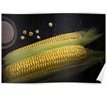 Organic raw corn and salt Poster
