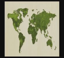 Earth,map,grass,green earth,modern,trendy,contemporary art One Piece - Long Sleeve