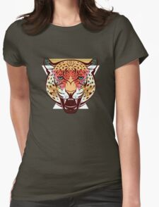 Angry Leopard Fashion Illustration Animals Gift Womens Fitted T-Shirt