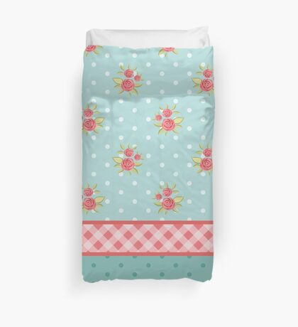 Shabby chic,country chic,collage fabrics,vintage,floral,polka dots,plaid,teal,red,white,mint,red,green Duvet Cover