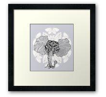 Elephant Bird Hybrid Mandala Blue Framed Print